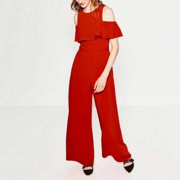 9826eadfcbc NWOT Zara Red Cold Shoulder Wide Leg Jumpsuit. M 5b425bb4c89e1d3d26dd0d60
